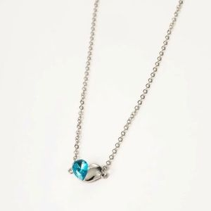 3/$30 Silver & Blue Two Tone Heart Necklace
